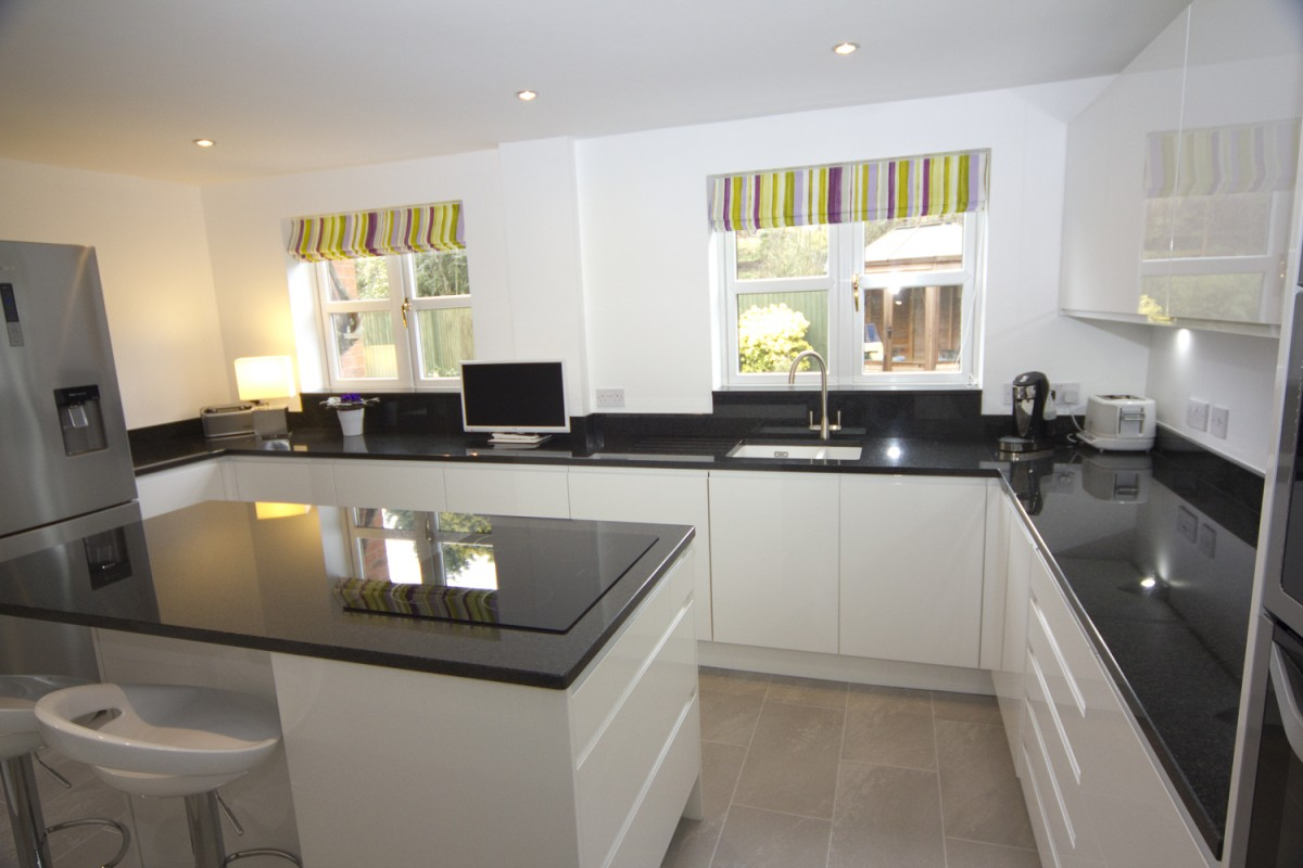 White Kitchen Units Black Worktop white gloss kitchen with black granite worktops, worcester