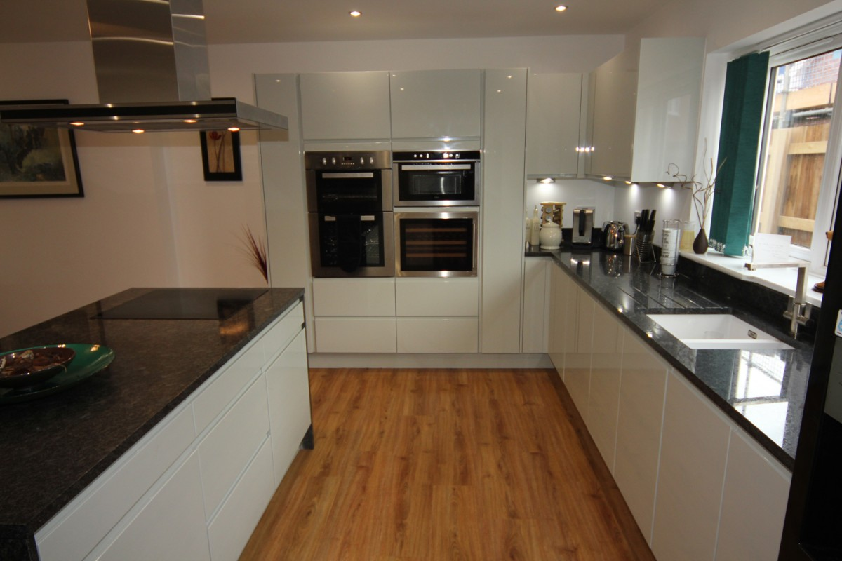 Granite Kitchen Work Tops White Gloss Kitchen With Black Granite Worktops Worcester